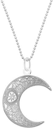 Cartergore Large Silver Mandala Moon Pendant Necklace