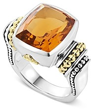 Lagos 18K Gold and Sterling Silver Caviar Color Medium Citrine Ring