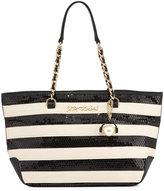 Betsey Johnson Sequin Love Striped Tote Bag, Black/White