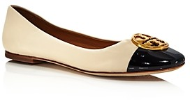 Tory Burch Women's Chelsea Cap Toe Leather Ballet Flats