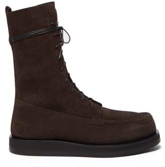The Row Patty Lace Up Suede Boots - Womens - Dark Brown