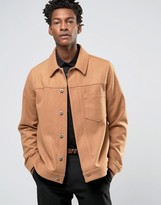 Asos Military Style Wool Mix Jacket In Camel