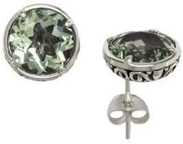Effy Balissima Green Amethyst Stud Earrings in Sterling Silver