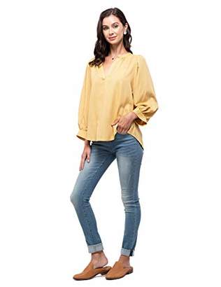 August Sky Women's Casual Split Neck Pinstriped Top Balloon Long Cuff Sleeve Loose Blouse Tunic Top--L