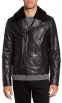 Mackage Men's Lambskin Leather Down Jacket With Genuine Shearling Collar