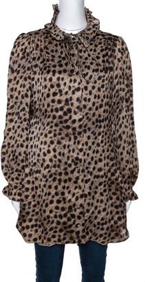 Carolina Herrera Beige Leopard Printed Silk Ruffle Detail Blouse L