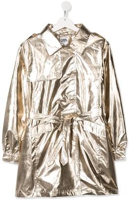 Karl Lagerfeld Paris Metallic Trench Coat