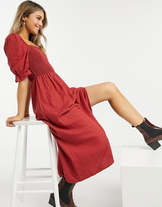 New Look shirred square neck midi dress in rust