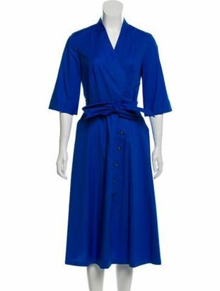 Saloni Mock Neck Midi Length Dress Blue