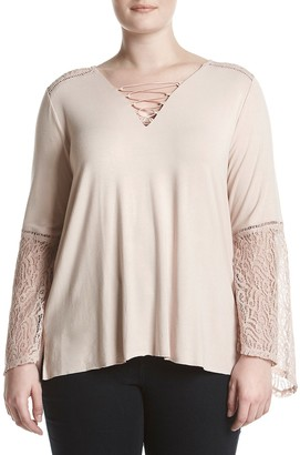 Democracy Women's Plus Size Bell SLV V-Neck Lace up Top