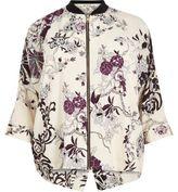 River Island Womens RI Plus cream floral print zip shirt