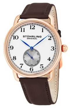 Stuhrling Original Stainless Steel Rose Tone Case on Brown Genuine Leather Strap, Silver Dial, With Black and Blue Accents