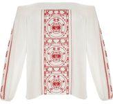River Island Womens RI Plus red embroidered festival bardot top