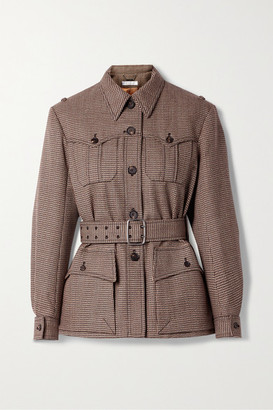 Chloé Belted Houndstooth Wool Jacket - Brown