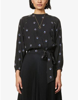 Sessun Karenine floral-embroidered cotton-blend top