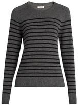 Saint Laurent Distressed striped cashmere sweater