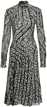 Proenza Schouler Printed Chiffon Panel Stretch-Silk Dress