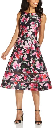 Adrianna Papell Floral Mikado Cocktail Dress