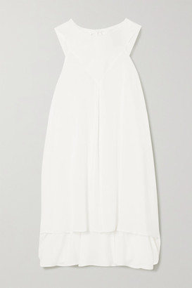 Ann Demeulemeester Tie-detailed Asymmetric Crepe And Cotton And Cashmere-blend Top - White