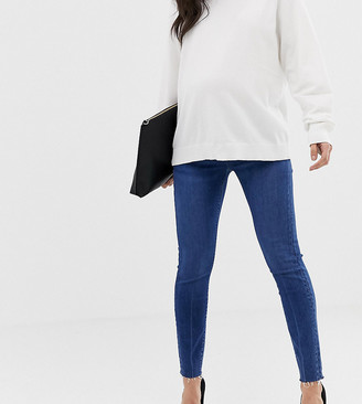 Asos DESIGN Maternity Petite Ridley high waisted skinny jeans in dark stone wash with raw hem with under the bump band-Blue