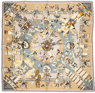 One Kings Lane Vintage Hermes Kachinas Silk Scarf - Vintage Lux - chocolate/putty/mustard