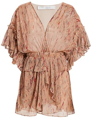 IRO Buoux Metallic Print Ruffle V-Neck Mini A-Line Dress