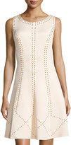 Jax Studded Sleeveless Fit-and-Flare Dress, Shell