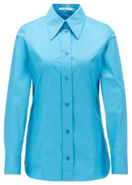 HUGO BOSS Regular-fit blouse in paper-touch stretch cotton