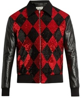 Saint Laurent Sequin-embellished Wool And Leather Bomber Jacket
