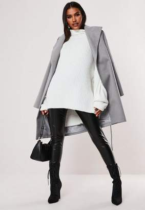 Missguided Gray Funnel Neck Belted Coat