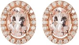14K Rose Gold Plated Sterling Silver Diamond & Morganite Stud Earrings