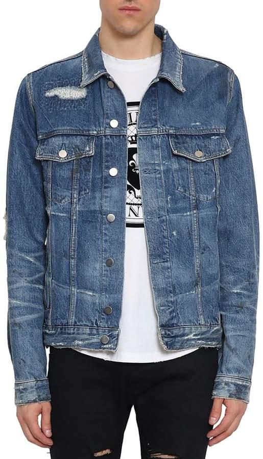 Balmain Distressed Denim Cotton Jacket