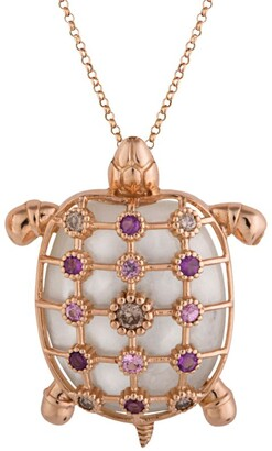 Cédille Cedille Rose Gold, Diamond And Sapphire Into The Deep Turtle Necklace