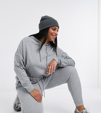 ASOS DESIGN Curve tracksuit hoodie / slim jogger with tie in grey marl