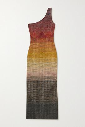 Missoni One-shoulder Degrade Metallic Wool-blend Crochet-knit Midi Dress - Red