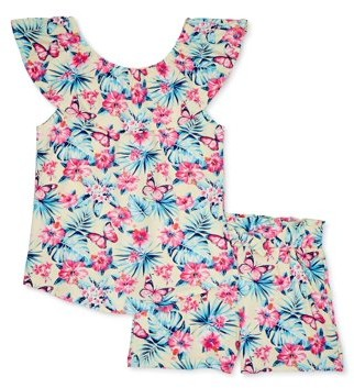 Star Ride Girls Butterfly Print Ruffle Top and Matching Paperbag Waist Shorts, 2-Piece Outfit Set, Sizes 4-16