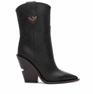 Fendi Cowboy Black Leather Ankle boots