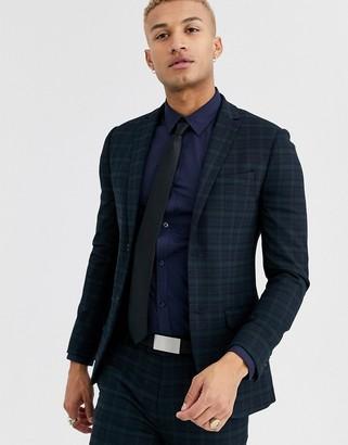 Topman super skinny suit jacket in navy check