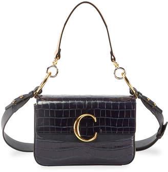 Chloé C Croc-Embossed Leather Shoulder Bag
