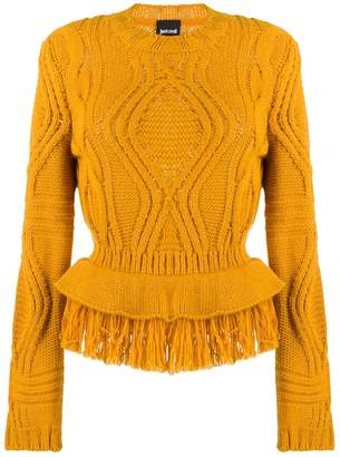 Just Cavalli cable knit fringed jumper