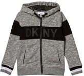 DKNY Grey Marl Zip Hoody with Rubberised Logo
