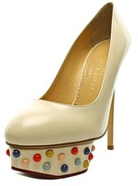 Charlotte Olympia Dolly Studs Women Round Toe Leather White Heels.