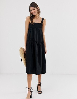 Asos Design DESIGN trapeze midi cotton sundress-Black