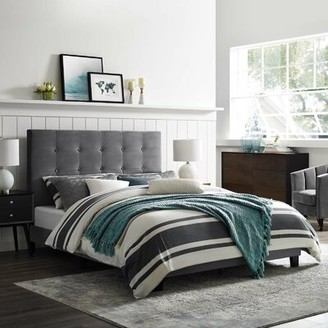 Hashtag Home Chadwick Tufted Button Upholstered Platform Bed Color: Gray, Size: King