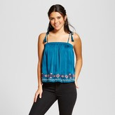 Xhilaration Women's Embroidered Satin Tank Top Juniors') Teal