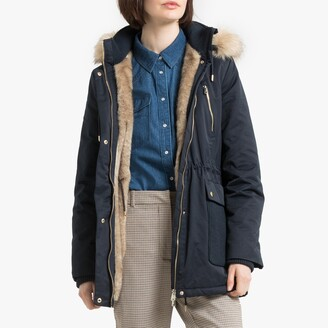 Esprit Cotton Mix Mid-Length Hooded Jacket with Faux Fur Lining