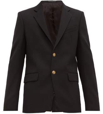 Givenchy Logo Button Single Breasted Twill Blazer - Mens - Black