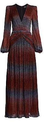 PatBO Women's Rainbow Lurex Long-Sleeve Gown