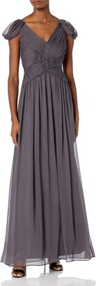 Minuet Women's Ruched Draped Sleeve Long Gown