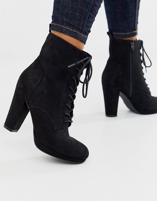 New Look lace up high boot in black